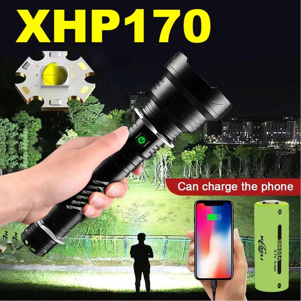 Super mocna latarka Led XHP170 18650 26650 Zoom latarka taktyczna USB akumulator xhp90 Extra jasne led latarnia
