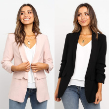 Goocheer Women Long Sleeve Pocket Design Notched Lapel Collar Blazer Casual Fashion New Trends Fall Elegant Office Lady Blazer цена