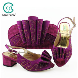 Комплект из туфель и сумочки фиолетового цвета; итальянский дизайн; комплект из женских туфель и сумочки для вечеринок в нигерийском стиле; ...