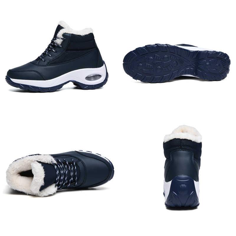 STQ yeni yarım çizmeler kadın kar botları sıcak peluş astarı bayanlar çizmeler dantel-up su geçirmez kısa siyah çizmeler kadın kış A99