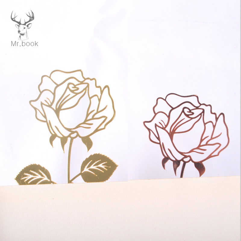 Creative Retro Metal Bookmark Beautiful Rose Book Page Mark Girl's Gifts With Greeting Card Stationery School Office Supplies