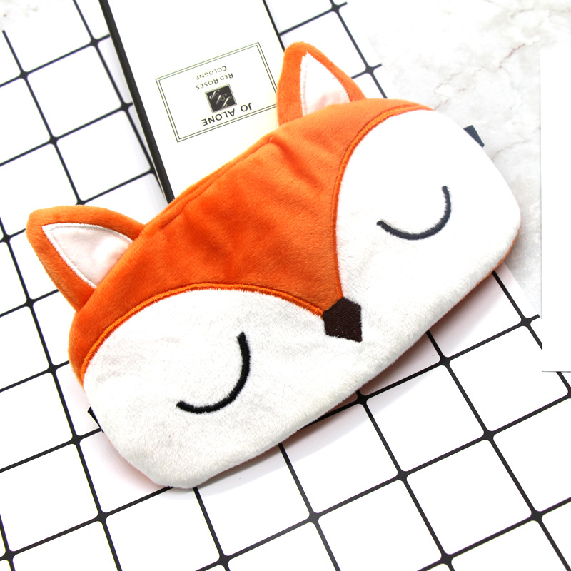 1PC Cute Cartoon Eye Cover Plush Fox Sleep Eye Mask Sleeping Mask Kids Eyeshade Travel Rest EyeBand Blindfold Sleep Aid Eyepatch