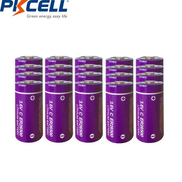 20個/pkcell 3.6 3.6vcサイズリチウム電池ER26500 9000 2600mah Li SOCl2バッテリー