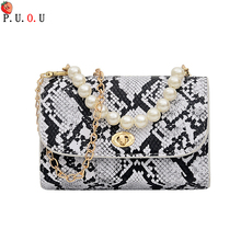 PUOU Brand Snake Designer Women Bag Chain Strap Shoulder Bags Small Crossbody For PU Leather Female 2019 New #MM1