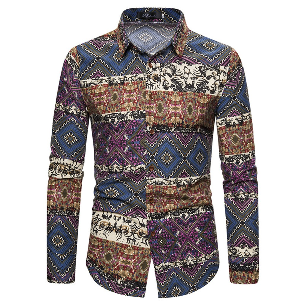 KLV Shirts Men Splicing Printed Business Leisure Retro Long-Sleeved Shirt Top Blouse Ethnic Style Vintage Camisa Masculina