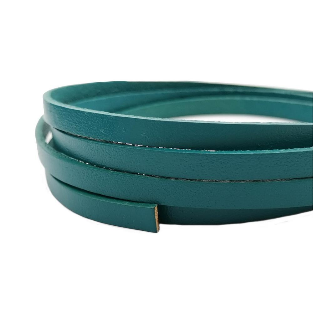 1 Yard 5mmx2mm Teal Coated Cow Hide Real Leather Strip, 5mm Wide Genuine Leather Cord GF5M116