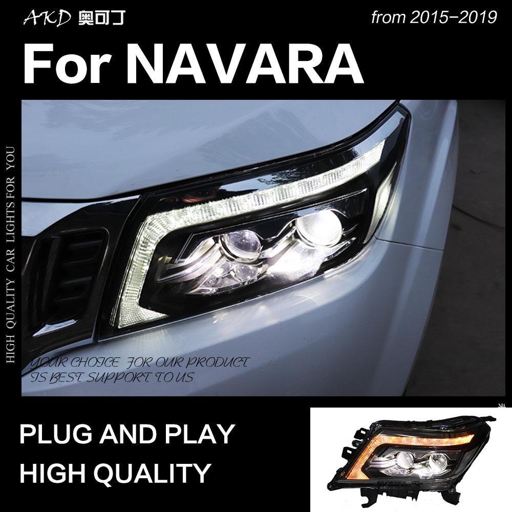 AKD Car Styling For Nissan Navara Headlights 2015-2019 NP300 Dynamic Turn Signal LED Headlight DRL Hid Bi Xenon Auto Accessories