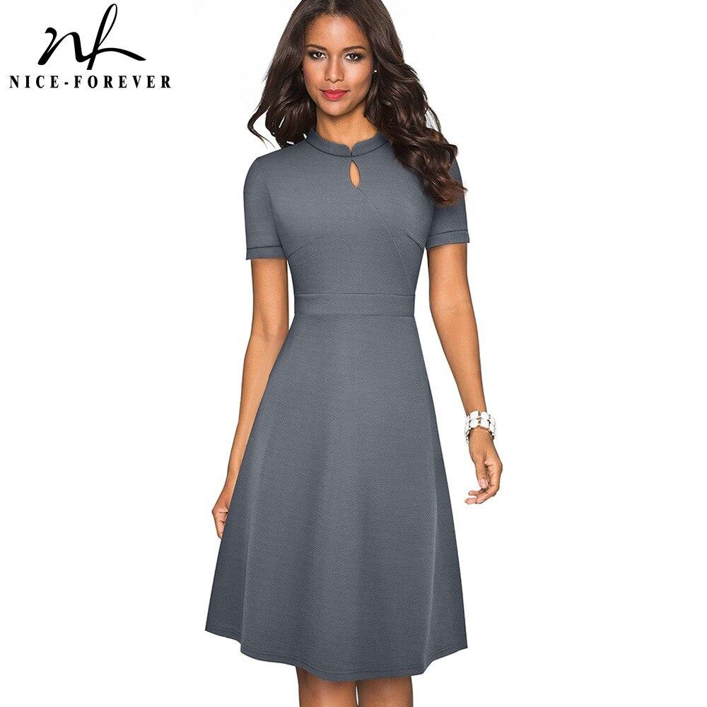 Nice-forever Summer Vintage Elegant Pure Color Vestidos With A-Line Retro Women Dress A199
