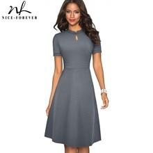 لطيفة إلى الأبد الصيف خمر أنيقة نقية اللون vestidos مع ألف خط الرجعية النساء فستان A199