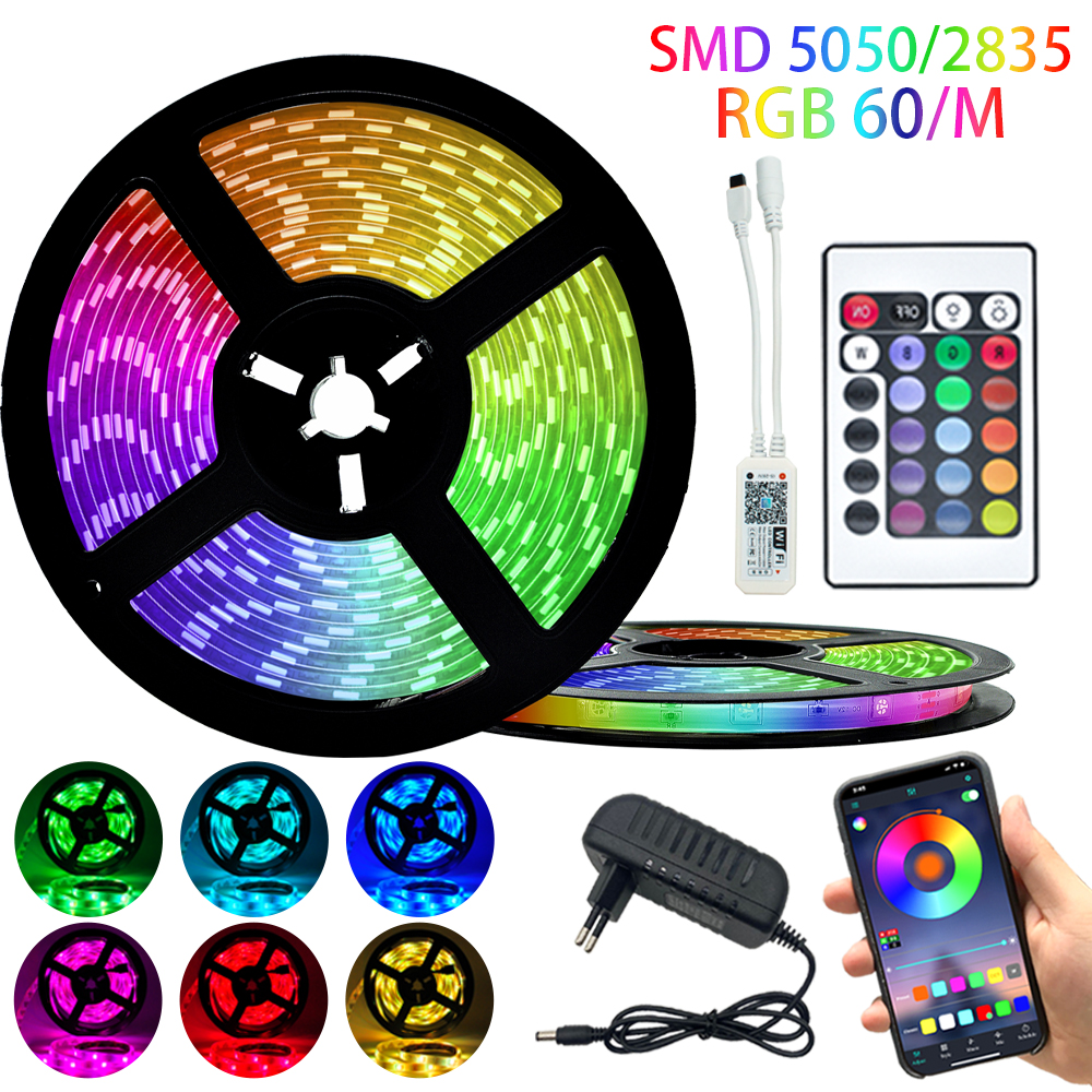 LED Strip Light Bluetooth luces Led RGB 5050 SMD 60 Lamp Beads Per Meter Flexible Ribbon Waterproof DC 12V 5M 10M WIFI Christmas
