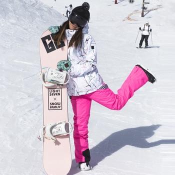 female winter outdoor ski wear waterproof windproof breathable warmth thicker veneer double board ski clothing female tide