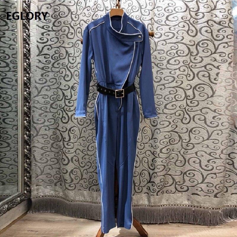 Top qualité Designer combinaisons 2019 automne décontracté fête combinaison femmes couleur bloc reliure ceinture à manches longues bleu noir combinaison