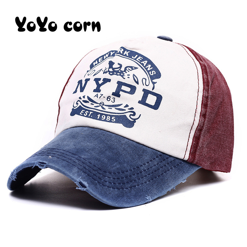 Fashion Casual Cap Panel Wash Hats For Men Women Unisex Gorras Wholsale Snapback Cap Letter Style NYPD Baseball Caps Fitted Hat