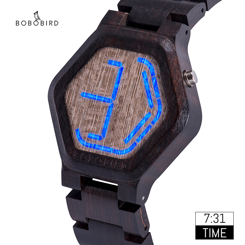 Relogio Masculino BOBO BIRD Digital Watch Men Night Vision Bamboo Watch Mini LED Watches Unique Time Display Gifts Dropshipping