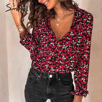 Simplee Floral print women blouse shirt Vintage long sleeve female top shirt Streetwear v-neck plus size office ladies blouse