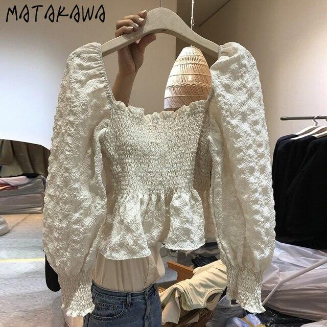 MATAKAWA Elastic Slim Backless Bottoming Shirt Korea Square Neck Puff Sleeves Blusas Mujer De Moda Pleated Blouse Women 2