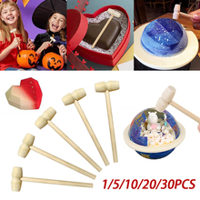 1/5/10/20/30Pcs Mini Wooden Hammer Mallet Carving Tool Leather Craft Jewelry Making Hammer Tool Party Game Props