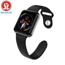 Montre intelligente série 4 Smartwatch pour Apple iOS iPhone Android montre-Bracelet Sport Bluetooth Bracelet Fitness Tracker (bouton rouge)