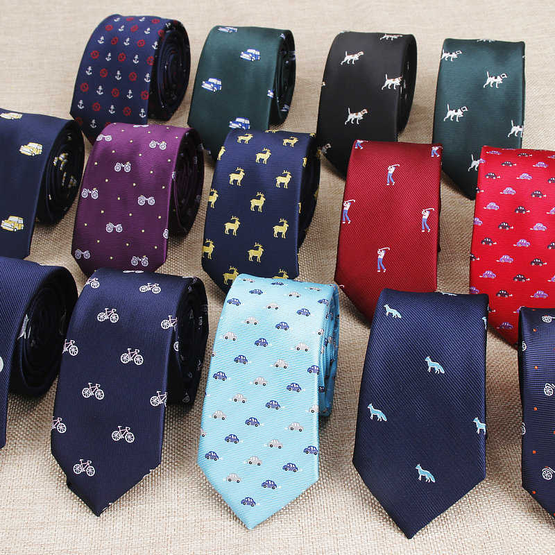 New Design Animal Tie For Men Polyester Woven Necktie Bicycle Car Monkey Dog Balloon Jacquard Fashion Party Wedding Gravata Ties