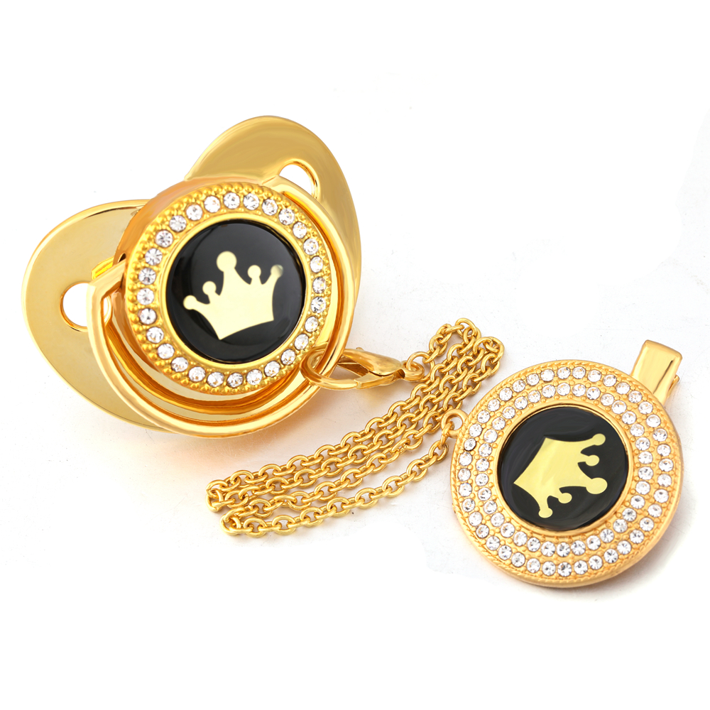 Luxury Golden Crown Bling Pacifier With Chain Clip Newborn Baby Boys Girl Dummy Nipples Food Grade Silicone Pacifier Soother