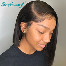 Remy Wig Human-Hair-Wigs Rosa Lace-Frontal Short Bob Beauty Natural-Color Straight Black-Women