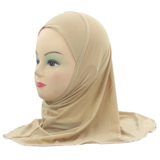 الفتيات المسلمات الاطفال الحجاب الإسلامي وشاح شالات لا الديكور لينة وتمتد المواد لمدة 2 إلى 7 سنوات الفتيات بالجملة