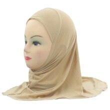 มุสลิมหญิงเด็ก Hijab ผ้าพันคออิสลามผ้าคลุมไหล่ไม่มีตกแต่งนุ่มและวัสดุยืดสำหรับ 2 ถึง 7 ปีขายส่ง