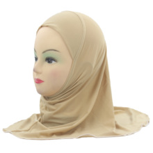 Muslim Girls Kids Hijab Islamic Scarf Shawls No Decoration Soft and Stretch Material for 2 to 7 years old Girls Wholesale