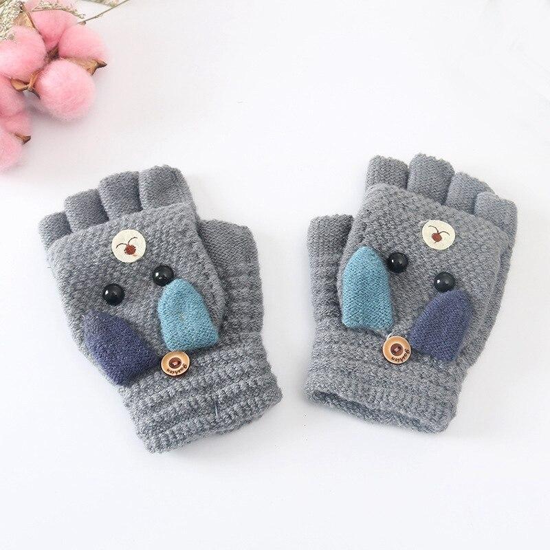 Милые детские вязаные перчатки с медведем Зимние теплые детские перчатки с половинкой пальцев для мальчиков и девочек с откидной крышкой мягкие детские варежки для От 3 до 10 лет - Цвет: Gray