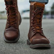 Sapatos de caminhada dos homens botas militares sapatos de caça tático deserto combate tornozelo do exército tênis de trabalho couro neve andando alto topo sapato