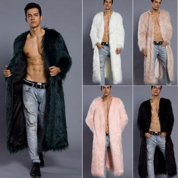 Autumn long faux mink leather jacket mens winter thicken warm fur leather coat men slim jackets jaqueta de couro fashioro