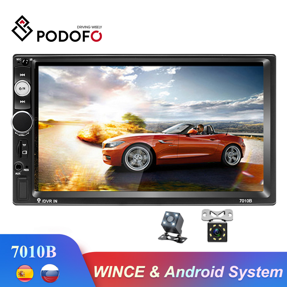 Podofo Autoradio 2 din Car Radio <font><b>7010b</b></font> Wince Android Multimedia Player GPS Auto Stereo Bluetooth WIFI USB Suppport Rear Camera image