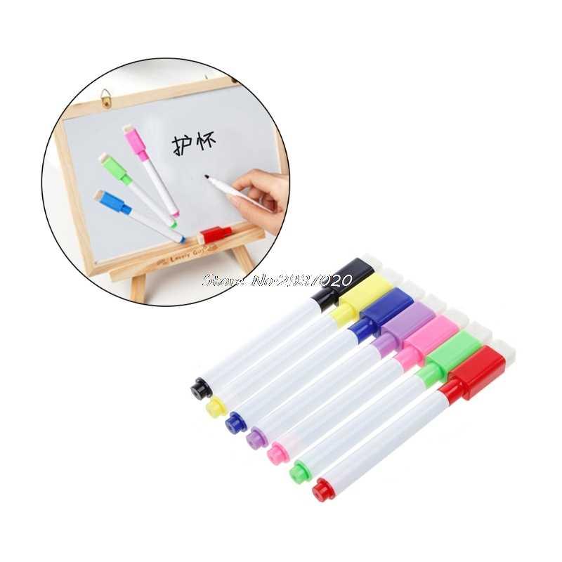 5 יח'\סט חדש לגמרי מגנטי עט לוח מחיק לוח לבן יבש סמני מגנט מובנה ספר משרד מחק Au13