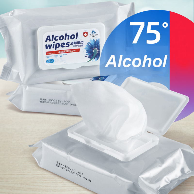75% Disinfecting Alcohol Wipes Disposable Hand Wipes Skin Cleaning Bacteria Disinfection Wipes Alcohol Cotton 50Pcs/Bag