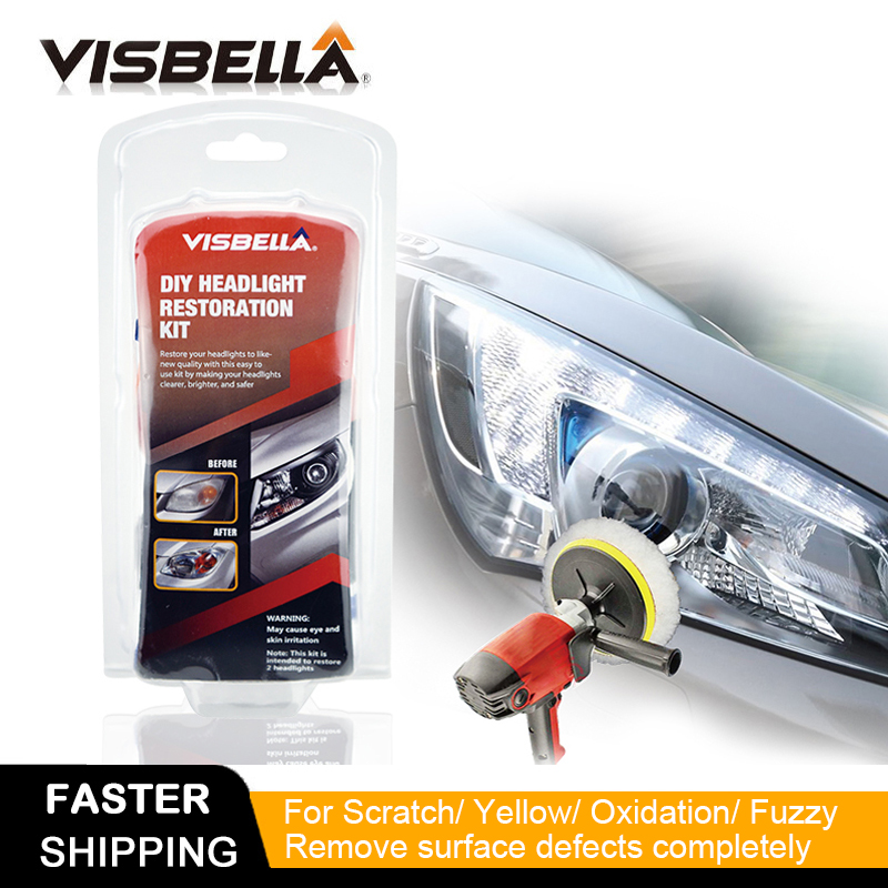 Visbella Car Headlamp Repair Headlight Restoration Polishing Renewal Agent Bright White For Toyota Headlight Cleaner Hand Tool