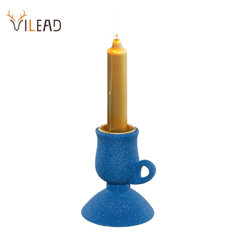 VILEAD Ceramic Candlestick Figurines Creative Desktop Art Decor Support For Candle Home Festival Candlelight Dinner Accessories