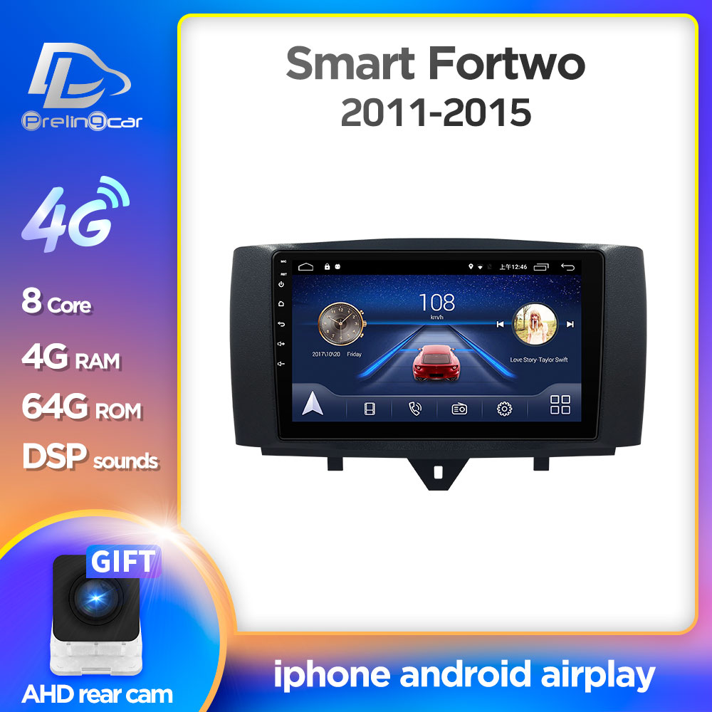 Android 10.0 sistemi araç DVD oynatıcı multimedya oynatıcı Mercedes/Benz Smart Fortwo 2011 2012 2013 2014 2015 WiFi BT radyo stereo GPS