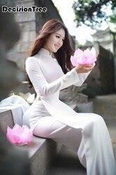 2020 Witte Vrouwen Aodai Vietnam Traditionele Kleding Ao Dai Gewaden En Broek Chinese Jurk Qipao Voor Vrouwelijke Verbeterd Cheongsam
