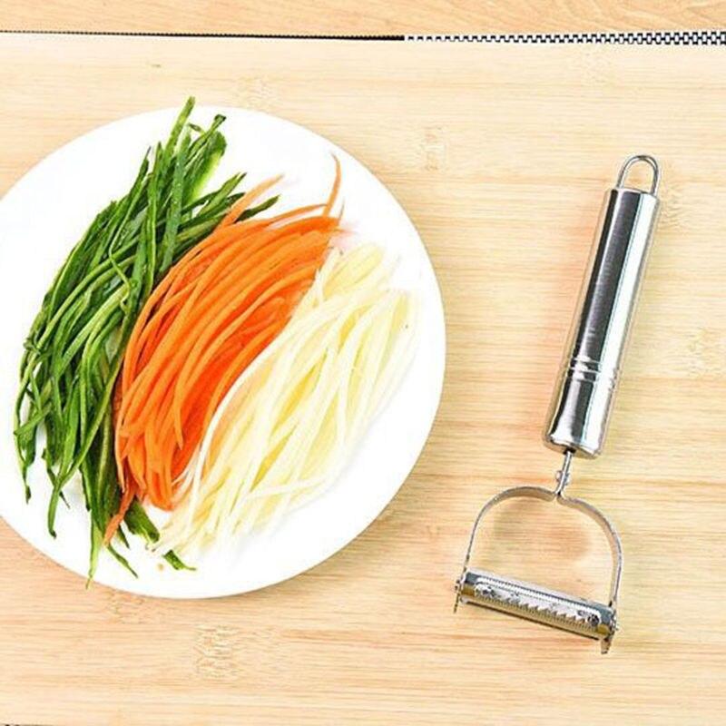 Кухонная Удобная Овощечистка из нержавеющей стали популярное устройство для нарезки нож для нарезания соломкой овощей Прямая поставка