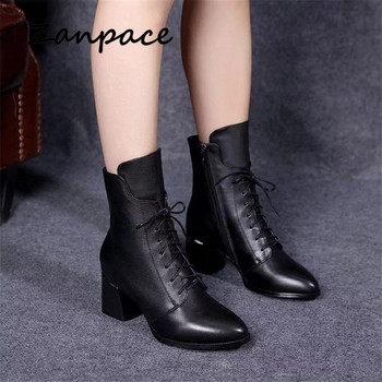 2019 new leather women boots thicked velvet pu women shoes women's high-heeled cotton keep warm martin boots zapatos de mujer