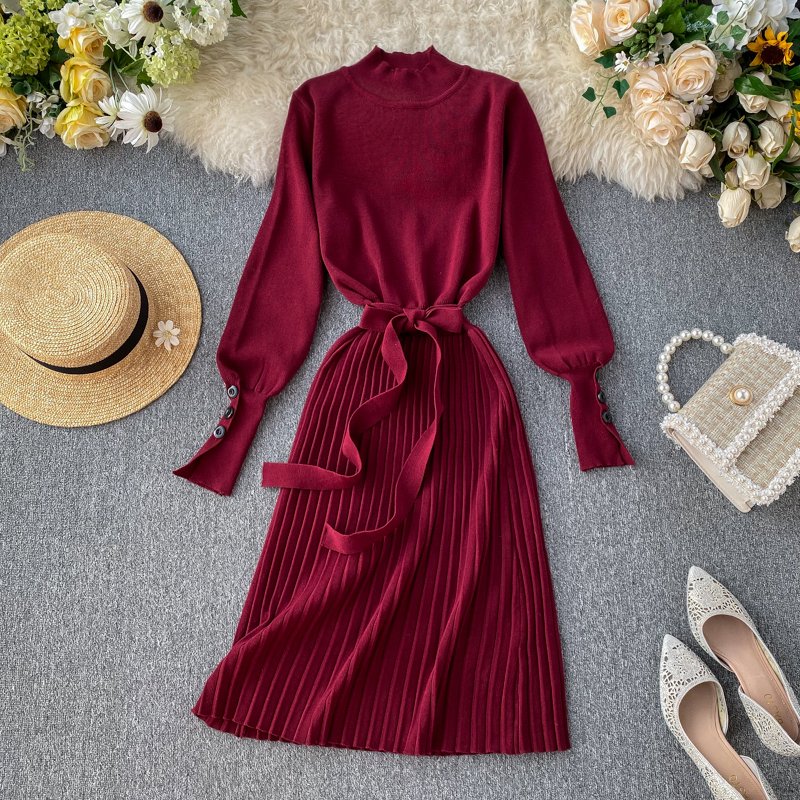 ALPHALMODA High Collar Buttons Sleeve Pleated Women Autumn Winter Sashes Tie Pleated Knit Dress Female Vintage Classical Dress 72