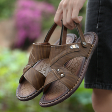 2019  Summer Sandals Men Leather Casual Shoes Man Slip On Breathable Slippers Beach Sandalias Soft Hombre Verano Big Size 46