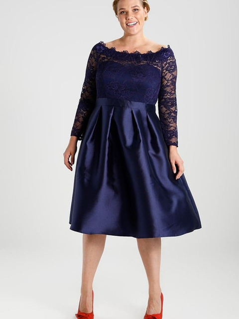 Navy Blue Plus Size Mother of the Bride Dress Long Sleeve Boat Neck Lace Satin Tea Length Evening Gown Short Party Customize 1