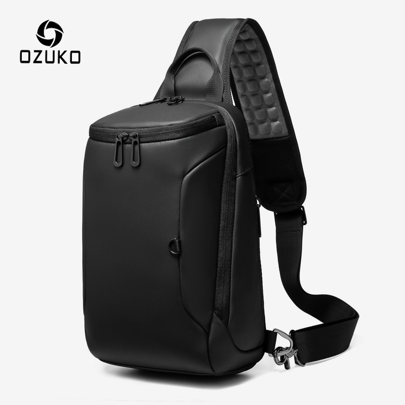 OZUKO Men USB Charging Shoulder Bag Casual Waterproof Crossbody Messenger Bag 9.7