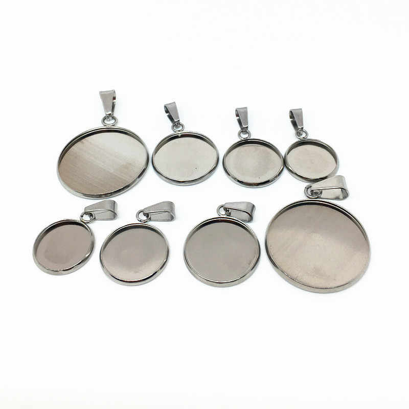 10pcs Stainless Steel Blank Cabochon Base Setting 8 10 12 14 16 18 20 25 30mm Fit DIY Necklace Pendant Jewelry Making Findings
