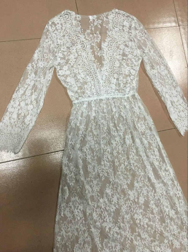שמלת נשים קיץ שמלות עמוק v-צוואר לבן סקסי ארוך שרוולים לראות דרך תחרה שמלת וינטג בתוספת גודל שמלות vestidos BLK0894