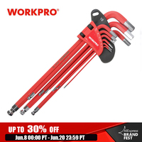 WORKPRO 9pcs Long Arm Metric Hex Key Wrench Set Ball Point Key Set with Ball Ended Key Set