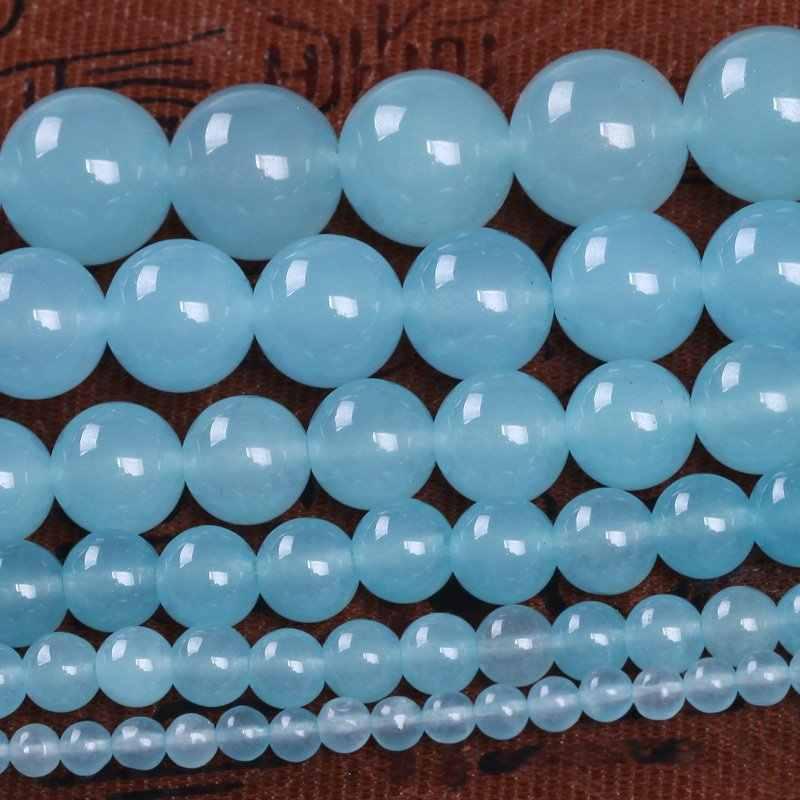 1 15.5 'ストランド 4 ミリメートル-14 ミリメートルラウンドアクアブルーカルセドニールースビーズ作るためジュエリー Nacklace ブレスレット
