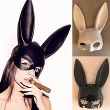 цена на 1PC Halloween Women Bunny Mask Party Bar Nightclub Costume Rabbit Ears Mask Festival Party Hairband Costume