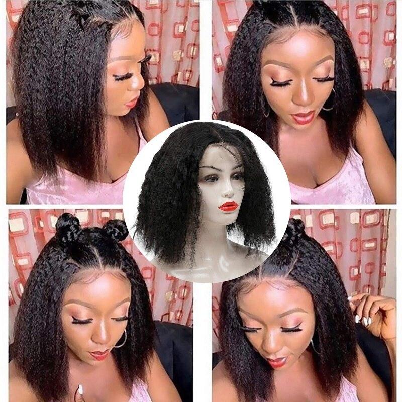 Brazilian Kinky Straight Wig 13x4 Short Bob Cut Lace Front Human Hair Wigs 150% Density Pre Plucked Blunt Cut Wig Remy Bob Wig